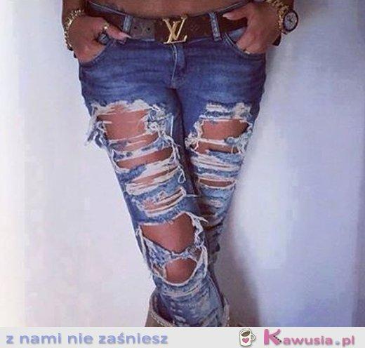 Poprzecierane jeansy